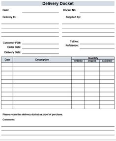 Free Delivery Docket Template Ticket Template Action Plan Template
