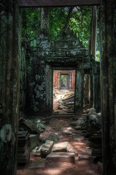 Jungle doorways at Koh Ker, a remote archaeological site in northern Cambodia