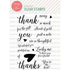 Ellen Hutson, LLC features Essentials by Ellen Clear Stamps, Fancy Thanks by Julie Ebersole.