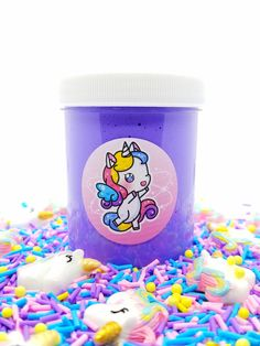 This is a creamy butter slime made with soft clay, it's scented sugar crush & comes topped with a beautiful bright unicorn blend of sprinkles! Butter Charm Pack ♥ All Slimes Are ♥ *All digital art & images are subject to copyright* Slimy Slime, Fruit Slime, Best Fluffy Slime Recipe, Pretty Slime, Girl Gift Baskets, Slime And Squishy, Slime For Kids, Slime Shops, Cute Room Ideas