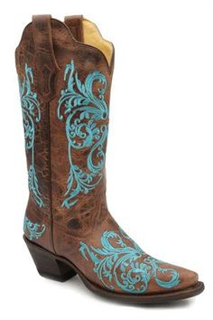 Corral Dahlia Turquoise and Brown Embroidered Cowgirl Boots  SALE LIMITED TIME  $199.95