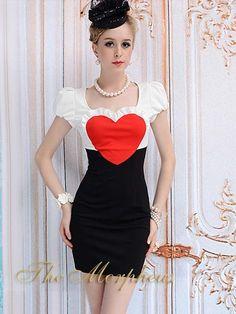 Morpheus Boutique  - Black White Heart Princess Cap Sleeve Trendy Pencil Dress, $79.99 (http://www.morpheusboutique.com/products/black-white-heart-princess-cap-sleeve-trendy-pencil-dress.html)