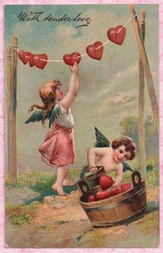 CHERUB SCRUBS VALENTINE HEARTS ~ ANGEL HANGS ON LINE TO DRY Very Sweet PC IMAGE! #ValentinesDay