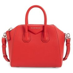 Women's Givenchy 'Mini Antigona' Sugar Leather Satchel (€1.490) ❤ liked on Polyvore featuring bags, handbags, medium red, red leather purse, givenchy purse, leather handbags, leather satchel purse and red leather handbags