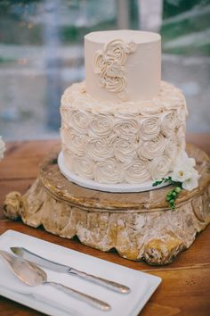 Wedding Cake -- What a gorgeous cake stand! More of this FALL wedding on SMP: http://www.StyleMePretty.com/2014/02/10/fall-hidden-pond-maine-wedding/ Photography: Emily Delamater