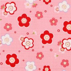 structured pink and red flower cherry blossom Dobby fabric - (detail) - (modeS4u)
