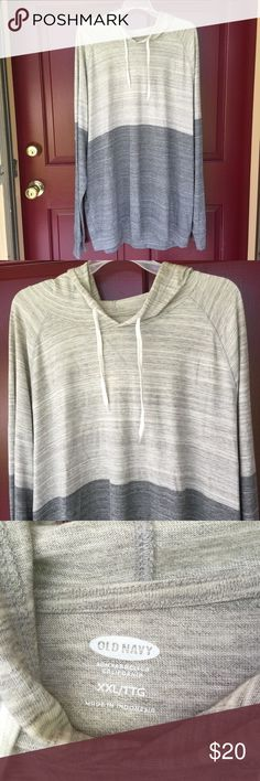 "NWT Men's XXL Hoodie Longsleeve Pull on Shirt NWT Old Navy Men's Hoodie Longsleeve Shirt size XXL Pull-On, 2 toned, Ligh and Dark Gray, Marble. Size measured on Chest: 53""... Length: 32.5"".. All my items comes from Smoke Free/Per Free Home :) Old Navy Tops Sweatshirts & Hoodies"