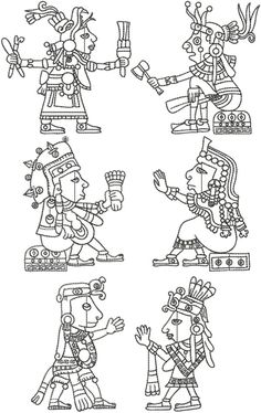 Advanced Embroidery Designs - Mayan Art Redwork Set