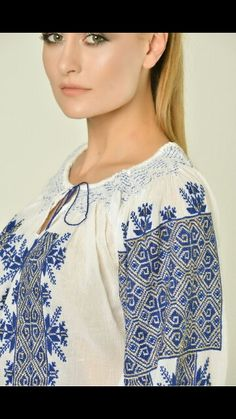 Romanian traditional blouse Folk Embroidery, Modern Embroidery, Embroidery Patterns, Nicole Fashion, Palestinian Embroidery, Folk Costume, Embroidered Blouse, Ethnic Fashion, Traditional Art