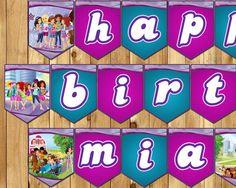 Lego Friends Inspired Birthday Banner  Lego by InstaBirthday