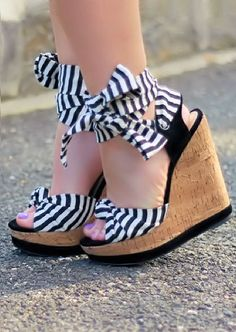 Black & White Stripe Ankle Bow Wedge ~♥ So Very Cute!