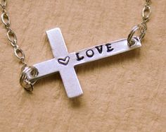 Sideways Cross Necklace - Hand Stamped Jewelry - Religion Faith - Personalized Necklace