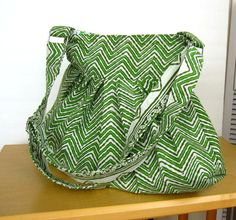 fabric purse hand block printed green chevron pattern by CocoBags on Etsy, $58.00