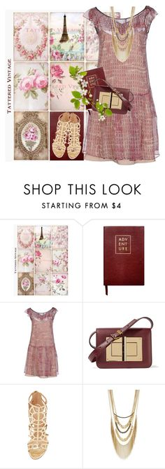 """Today's Vintage"" by petalp ❤ liked on Polyvore featuring Sloane Stationery, RED Valentino, Tom Ford, Sergio Rossi, BCBGeneration, vintage and dress"