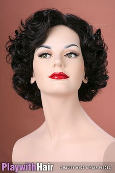 Vintage 30's Pinup Burlesque Wig Brown Black | eBay