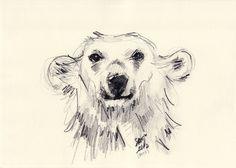 Polar Bear Smiling Black and White Art Print by Smog | Society6