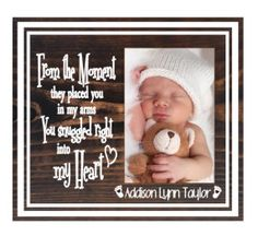 Nursery room decor - newborn baby frame - baby photo frame - baby boy picture frame - baby girl picture frame - personalized baby frame by TouchesofCreations on Etsy