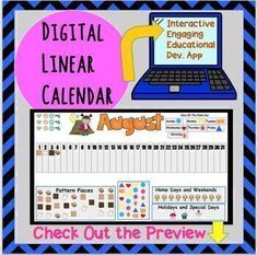 Back to School! Here is my brand new FULL YEAR Linear Calendar for Google Slides. Please see the above PREVIEW to get an idea of how this calendar will work.It is interactive and loaded with educational opportunities. Use as a master copy for class discussion and you as the teacher can move the pie...