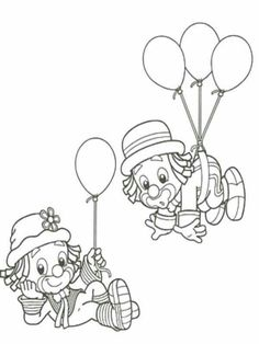 Clown Crafts, Carnival Crafts, Circus Carnival Party, Carnival Themes, Adult Coloring Book Pages, Cute Coloring Pages, Coloring Sheets, Coloring Pages For Kids, Coloring Books