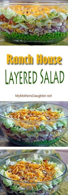 Ranch House Layered Salad has been a family favorite for years. I first made it back in the early and it was a recipe that was given to me by someone from Wichita Kansas. New Recipes, Cooking Recipes, Healthy Recipes, Cooking Corn, Cooking Salmon, Cooking Tips, Salad Dressing Recipes, Salad Dressings, Pasta