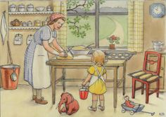 Charming illustration by Elsa Beskow (the Scandinavian Beatrix Potter) from the book Emily and Daisy.