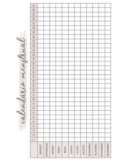 Calendário menstrual  ( planner clean ) Bullet Journal School, Bullet Journal Tracker, Bullet Journal Inspo, College Organization, Binder Organization, Printable Planner, Printables, Mental Health Journal, Lettering Tutorial