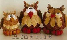 Ceci EuQfiz: Trio de corujas com moldes