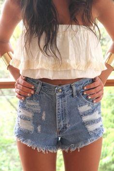 high waisted jean shorts + ruffle crop top