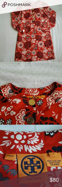 Tory Burch Red/Black Floral Silk Dress size 6 In great condition  Missing belt   Bust -19 inches Length 37 inches  Sleeve- 20 inches Tory Burch Dresses Long Sleeve