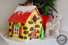 świąteczny domek lampion z masy solnej, handmade, zrób to sam