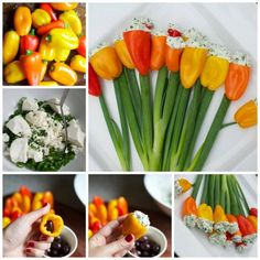 Cherry Tomato Tulips Are Perfect For Platters Appetizer Dips, Appetizer Recipes, Veggie Recipes, Vegetarian Recipes, Veggie Food, Butterfly Snacks, Tapas, Food Garnishes, Garnishing