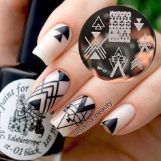 Born Pretty Nail Art Stamping Plates Geometry Negative Space Image Template DIY for sale online Gel Nail Art, Nail Art Diy, Easy Nail Art, Manicure And Pedicure, Diy Nails, Nail Polish, Nail Art Designs, White Nail Designs, Nails Design