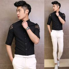 2014 NEW Luxury Shoulder Lace Embellished Dress Shirt Fashion Cool Men Evening Club Shirt $22.88