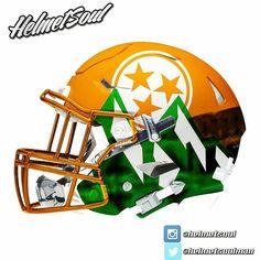 "Added some chrome to our ""Smokies"" #tennessee #vols #helmet concept from last year. #utk #football new designs added! #helmet #collegefootball #design #nfl #football #footballhelmet"