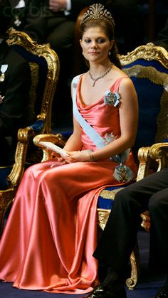 Crown Princess Victoria of Sweden attends the 2004 Nobel Prize ceremony in Stockholm