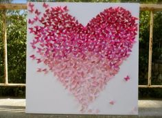 Pink Ombre Butterfly Heart/ Butterfly Wall Art / Nursery Decor /Children's Room Decor / Engagement / Wedding Gift - Made to Order, LARGE Art Mural Papillon, Art Du Collage, 3d Art, Heart Diy, Butterfly Wall Art, Pink Butterfly, Tissue Paper Flowers, Childrens Room Decor, Diy Wall Art