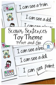 Use sight words to read these simple sentences about toys. Print and use as whole sentences or as individual words. #scissorsentences #sightwords