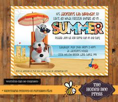 Olaf In Summer Frozen Invitation for Boys or Girls - Olaf Summer Pool Party Invitation - Beach Invitation- Olaf - Item 0183 on Etsy, $18.00
