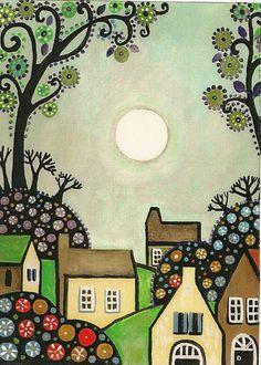 8x10 PRINT OF PAINTING ABSRACT FOLK ART HOUSES TREES RYTA FLOWERS MODERN VILLAGE | eBay