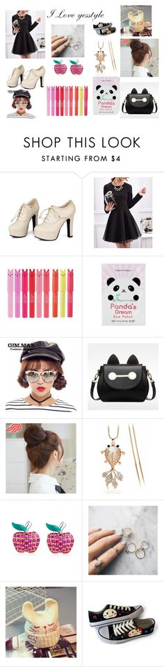 """""""I love yesstyle"""" by nozoeli ❤ liked on Polyvore featuring Sidewalk, Fashion Street, Tony Moly, GIMMAX Glasses, BeiBaoBao, Pin Show, Glitglow, MBLife.com, Floss Gloss and Hats 'n' Tales"""