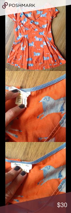 🆕 Anthro Sheep Blouse I am so sad to see this blouse go.  Orange with a blue and white sheep print. Ruffle around part of the neck. Nips in at the waist. The top is somewhat sheer- the material is thin- so you might want to wear a cami underneath. Good condition. Offers welcome! Anthropologie Tops Blouses