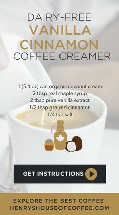 3 Dairy Free Coffee Creamer Recipes - Coffee Creamer - Ideas of Coffee Creamer - Making your own homemade coffee creamer tastes delicious & saves you money! A great alternative to the non-dairy flavored creamers. Dairy Free Coffee Creamer, Homemade Coffee Creamer, Coffee Creamer Recipe, Non Dairy Creamer, Healthy Coffee Creamer, Best Coffee Creamer, Organic Coconut Cream, Coconut Oil Weight Loss, Cinnamon Coffee