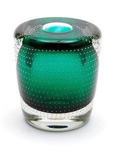 Floris Meydam spijkervaas Green glass so called spijkervaas with clear glass overlay design A.D.Copier (=fout) ca.1950 executed by Glasfabriek Leerdam / the Netherlands