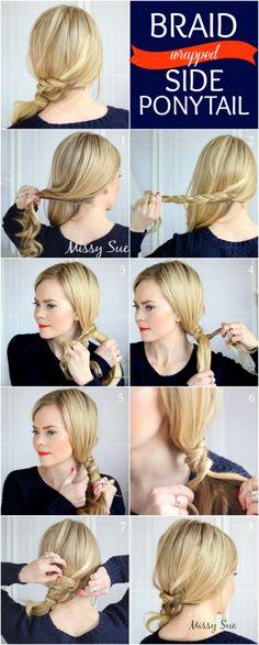Lauren conrad hairstyles ombre hair with braids hair pinterest braid 12 braid wrapped side ponytail solutioingenieria Choice Image