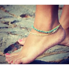 Sale LOVMELY ANKLET- triple chain white, Coral, or turquoise anklet gold wire wrapped I Love Jewelry, Body Jewelry, Bild Tattoos, Anklet Jewelry, Jewellery, Gold Anklet, Beaded Anklets, Bare Foot Sandals, Toe Rings