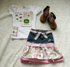 Pink John Deere skirt and shirt upcycled set by sweetpsboutique1, $40.00
