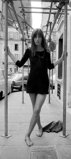 Jane Birkin, long sleeve mini dress and the bangs!