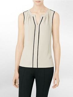sleeveless colorblock piping blouse