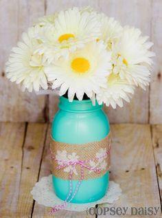 Stenciled Burlap Mason Jar Vase