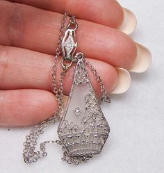 GORGEOUS FILIGREE STERLING SILVER ROCK CRYSTAL CAMPHOR GLASS ART DECO NECKLACE